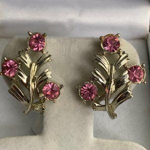 Vintage Coro pink tourmaline silver tone earrings